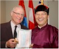 Steve Vaughn (left) and Dr. Galsan Batsukh at the opening of the Mongolian Consulate-General in Toronto