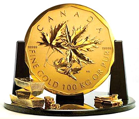 The Royal Canadian Mint's record-breaking, 100-kg pure gold coin