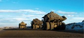 A fleet of massive haulers continues to deliver more than 300,000 tonnes of ore feed per day.