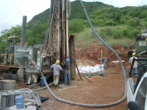 Drillers at the Los Verdes copper project in Mexico produce samples for examination at the site.,