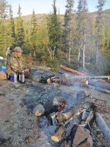 Noel Michel of Lutsel K'e takes a break during a prospecting trip near Great Bear Lake. Photo courtesy of DEMCo. LP.
