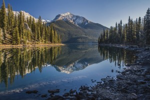 Morning lake reflection.