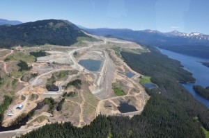 Aerial photo of Huckleberry Mine located between Huckleberry Mountain and Tahtsa Reach.