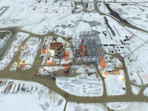 Aerial of plant construction at New Gold's Rainy River gold project.