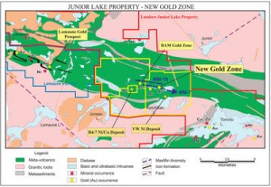 New gold zone discovered by Landore at its Junior Lake property.
