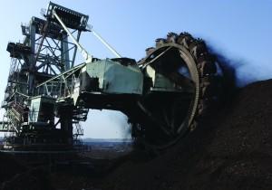 Surface coal mining.