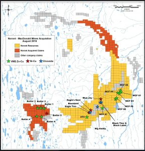 The claims that Noront Resources recently acquired from MacDonald Mines are shown in red.