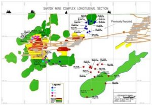 Longitudinal section of the Santoy mine complex 2016 drill program.