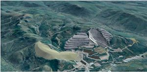 Clockwise from :left: In-valley heap leach; Waste rock storage, Waste rock storage; Open pit; Camp; and Gold recovery plant.