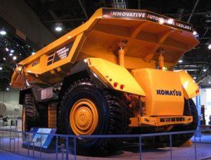 Komatsu's autonomous haul truck has a payload capacity of 230 tonnes.
