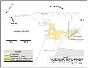 Plan view that shows drilling on the HM claim relative to existing shafts.