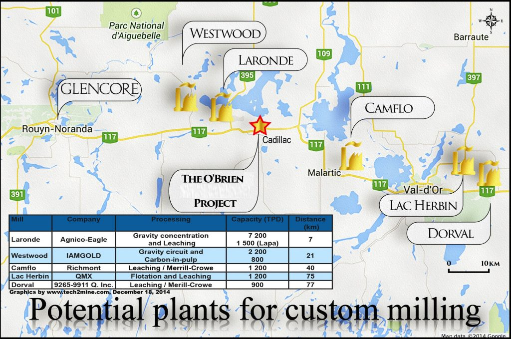 Potential plants for custom milling close to the O'Brien gold project. Credit: Radisson Mining Resources