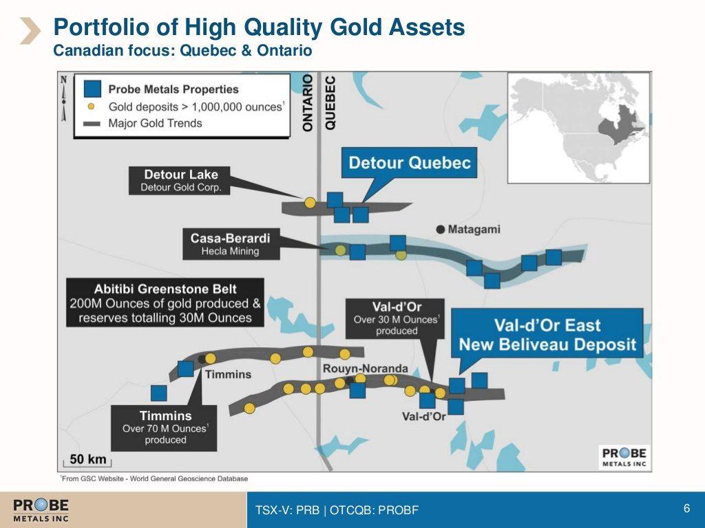 The location of Probe Metals' New Beliveau deposit.  Credit: Probe Metals