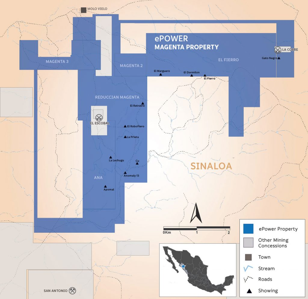 A map of ePower Metals' Magenta cobalt project in Mexico. Credit: ePower Metals