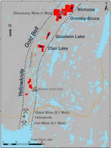 Map Of Canada Showing Yellowknife.Gold Goldmining Receives Water Licence Land Use Permits For