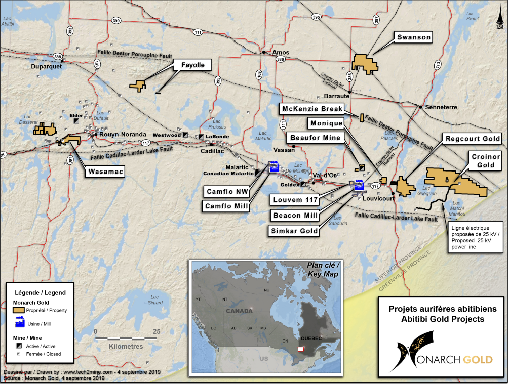 Monarch Gold's properties in Quebec. Credit: Monarch Gold