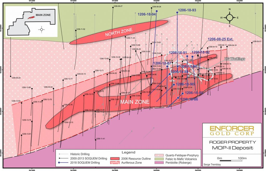2018 drill plan at the Mop II deposit at the Roger project. Credit: Enforcer Gold