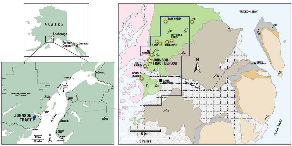Location of HighGold Mining's Johnson Tract project in Alaska. Credit: HighGold Mining