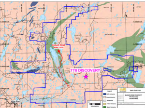 Sugar Zone property and TT8 discovery location Credit: Harte Gold