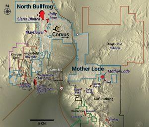 Bullfrog district land package Credit: Corvus Gold