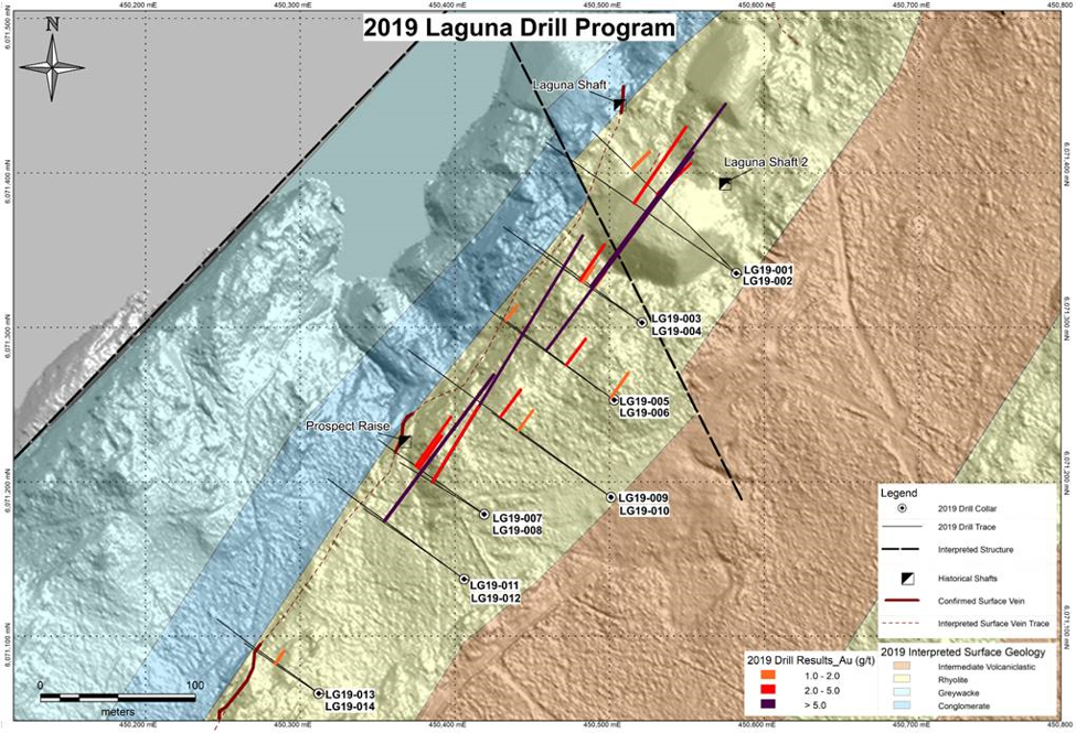Laguna drill area highlighting 2019 holes. Credit: Rockcliff Metals