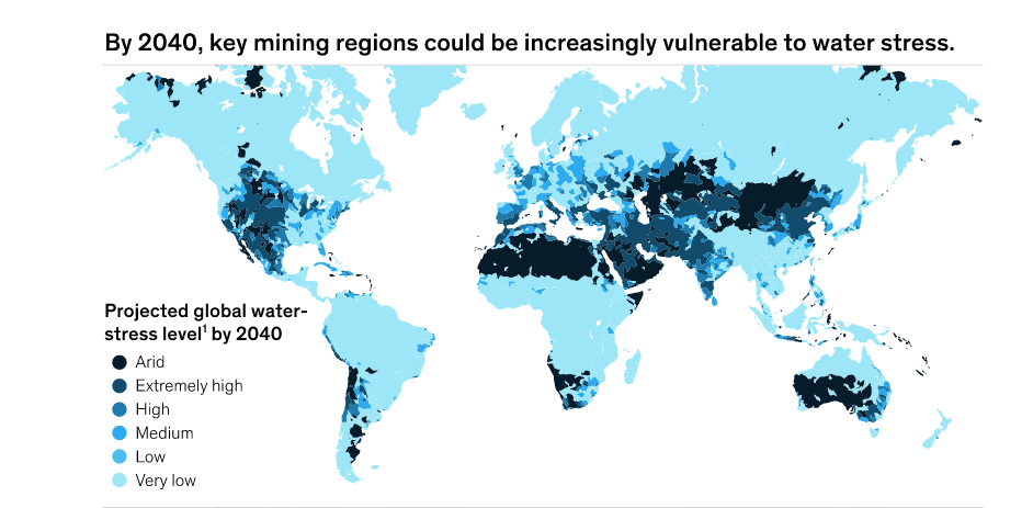 An image from the McKinsey & Co. report Climate Risk & Decarbonization depicting areas projected to be under water stress in 2040. Credit: McKinsey & Co.