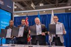 Webequie First Nation Chief Cornelius Wabasse, Marten Falls First Nation Chief Bruce Achneepineskum, Ontario Premier Doug Ford, and Energy, Northern Development and Mines and Indigenous Affairs Minister Greg Rickford at PDAC. Credit: Government of Ontario