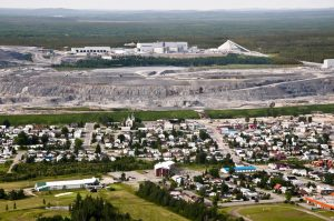 Aerial view of Malartic town and Canadian Malartic mine Credit: Agnico Eagle