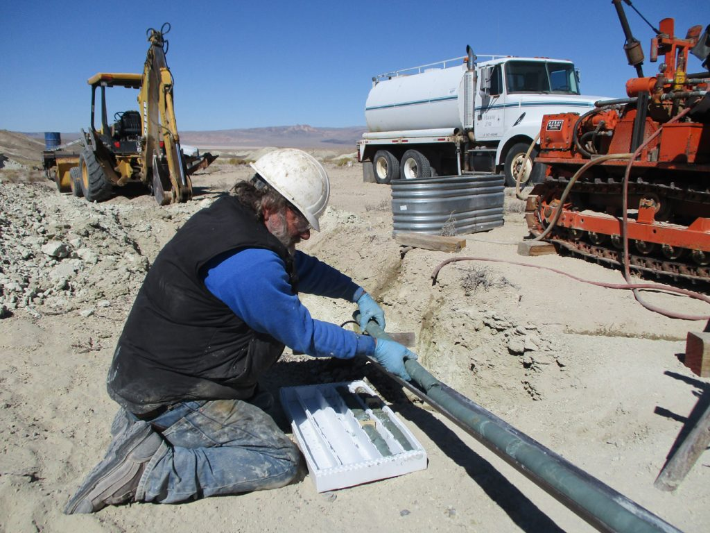 Recovering drill core from Cypress Development's Clayton Valley lilthium project in Nevada, in 2017. Credit: Cypress Development