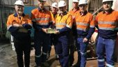The first gold doré bar poured in June 2019 at RNC Minerals' Higginsville gold mill, 60 km south of the Beta Hunt gold mine in Western Australia. Credit: RNC Minerals.