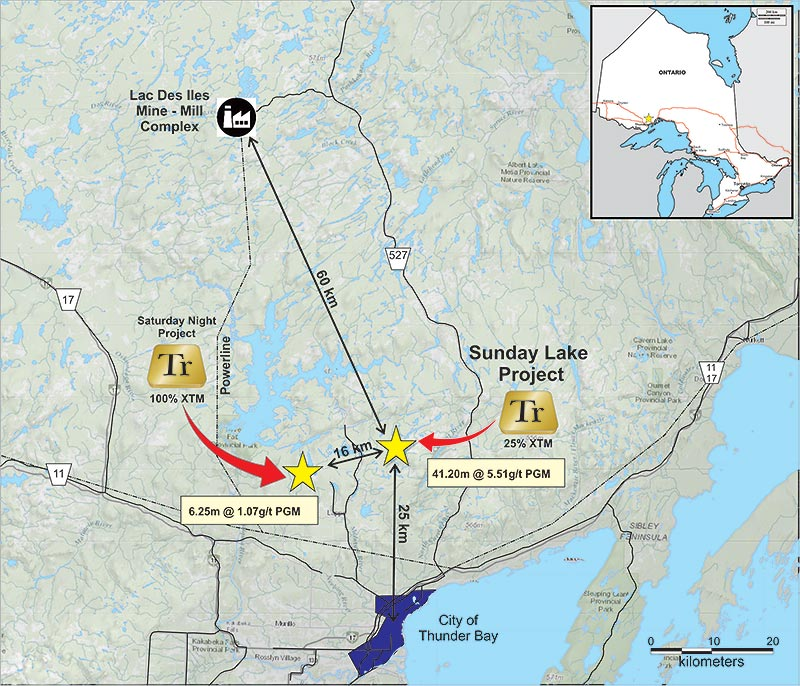A map of the Sunday Lake project, held by Impala Canada and Transition Metals. Credit: Transition Metals