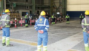 Practicing physical distancing during a meeting at Eldorado Gold's Kisladag gold mine in Turkey Credit: Eldorado Gold