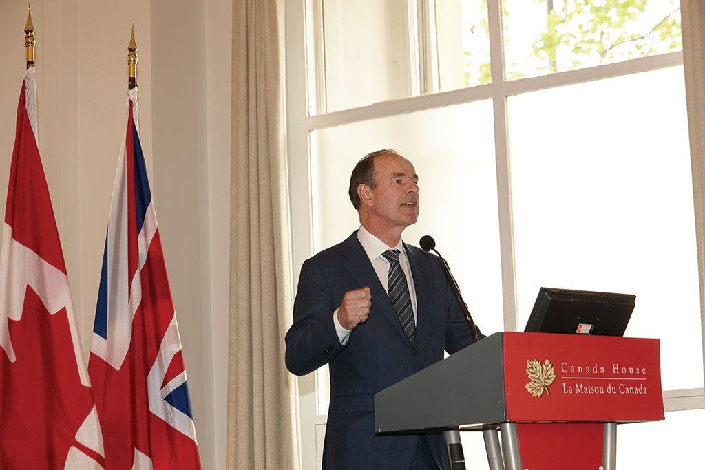 Franco-Nevada CEO David Harquail at the 2019 Canadian Mining Symposium, in London, U.K. Credit: Martina Lang for The Northern Miner.