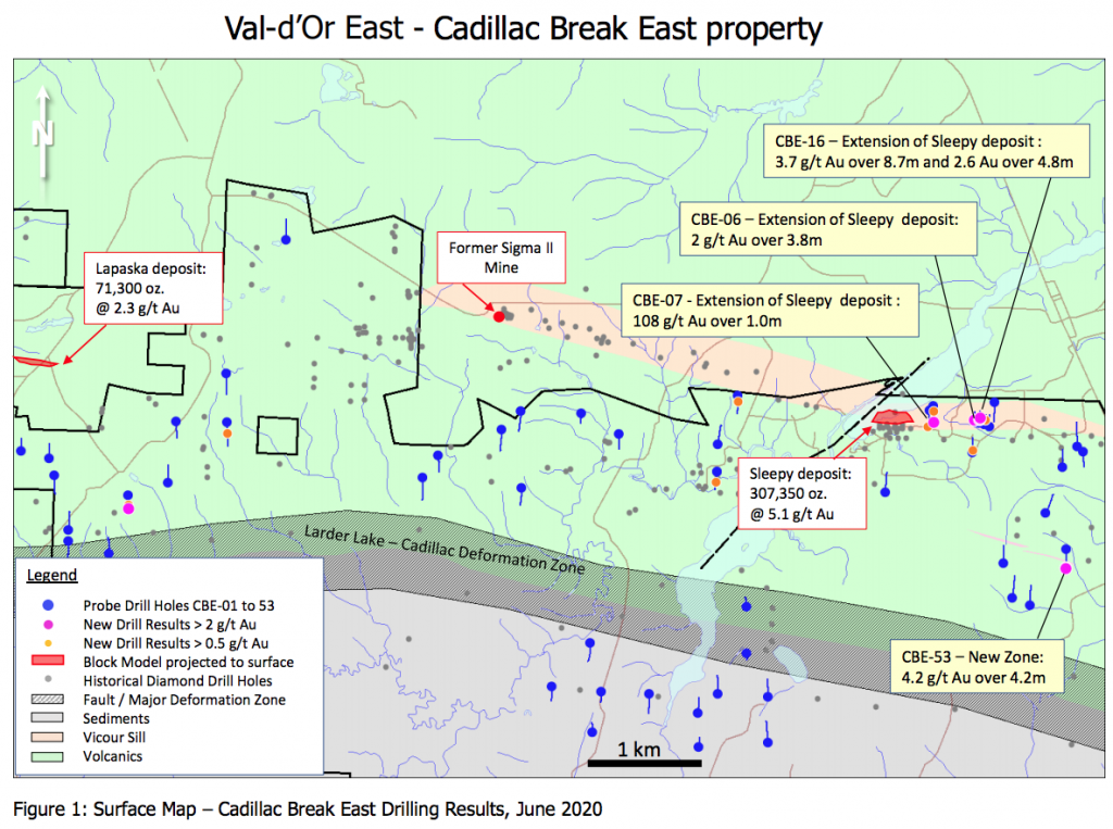 Locations of Probe Metals three new discoveries at the Cadillac Break East project, in Val-d'Or, Que. Credit: Probe Metals