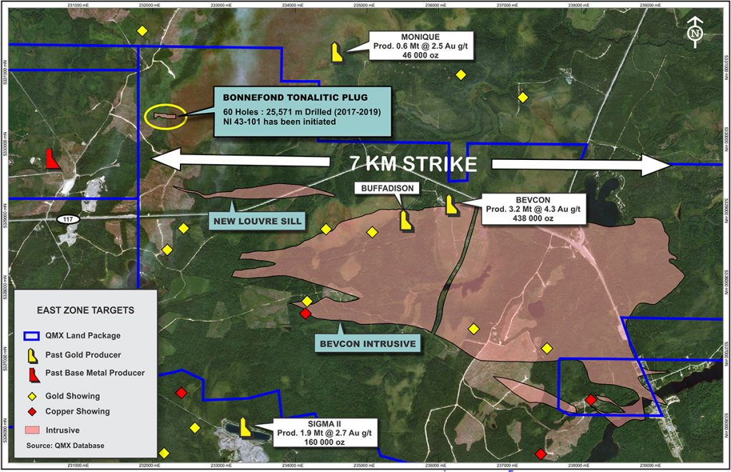 East zone targets at QMX's holdings Credit: QMX Gold