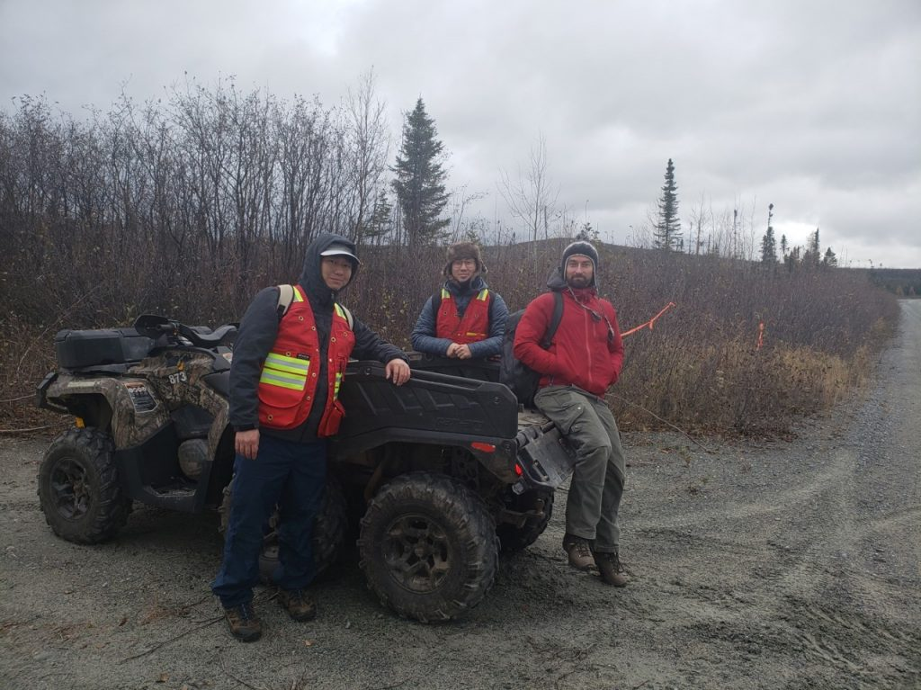 Akito Takeuchi and Sho Aibe of Sumitomo Metal Mining with Francis MacDonald, VP Exploration of Kenorland Minerals at the Frotet project in Quebec. Credit: Kenorland Minerals