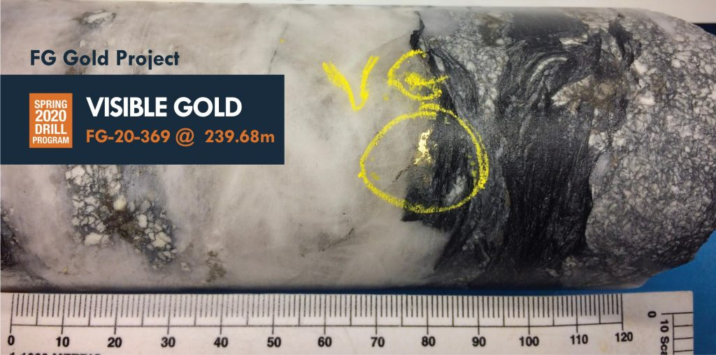 Visible gold from FG project Credit: KORE
