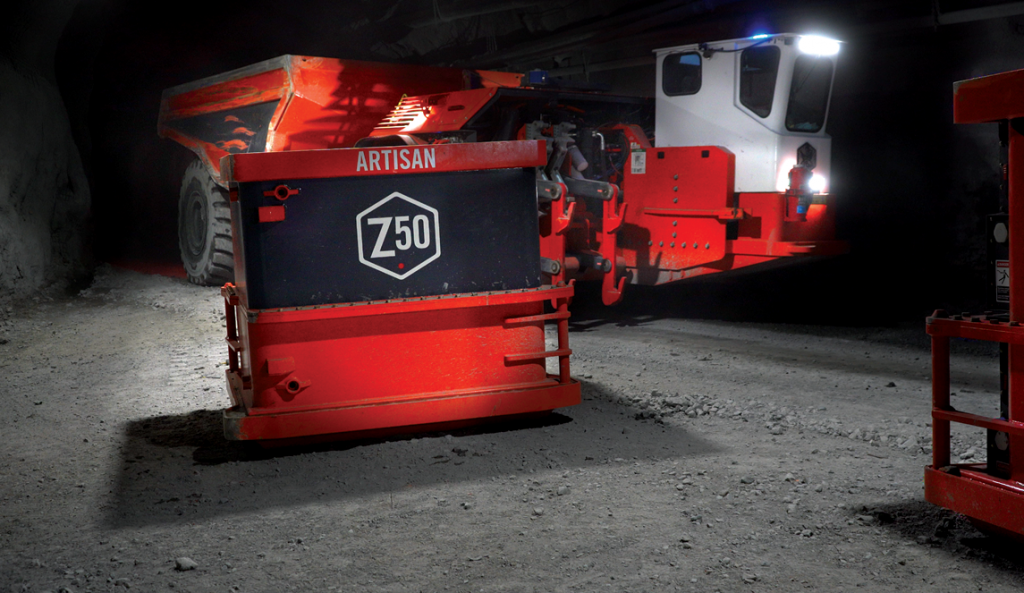 An Artisan Z50 conducting a battery self-swap. The 50-tonne haul truck is emissions-free. Credit: Sandvik