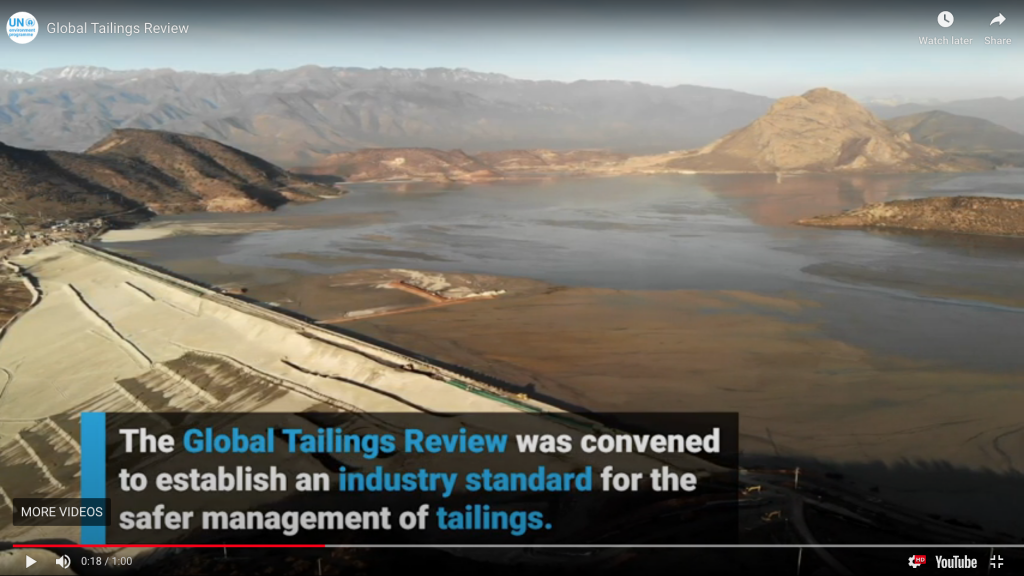 Screen shot from a Global Tailings Review on the new Global Industry Standard on Tailings Management. Credit: Global Tailings Review