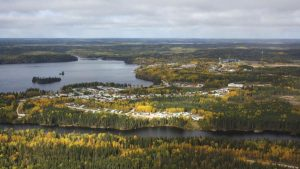 Aerial view of Snow Lake Credit: Rockcliff Metals