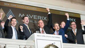 Geoff Burns (centre), Maverix Metals cofounder and chairman, opens the New York Stock Exchange in 2019. Credit: Maverix Metals