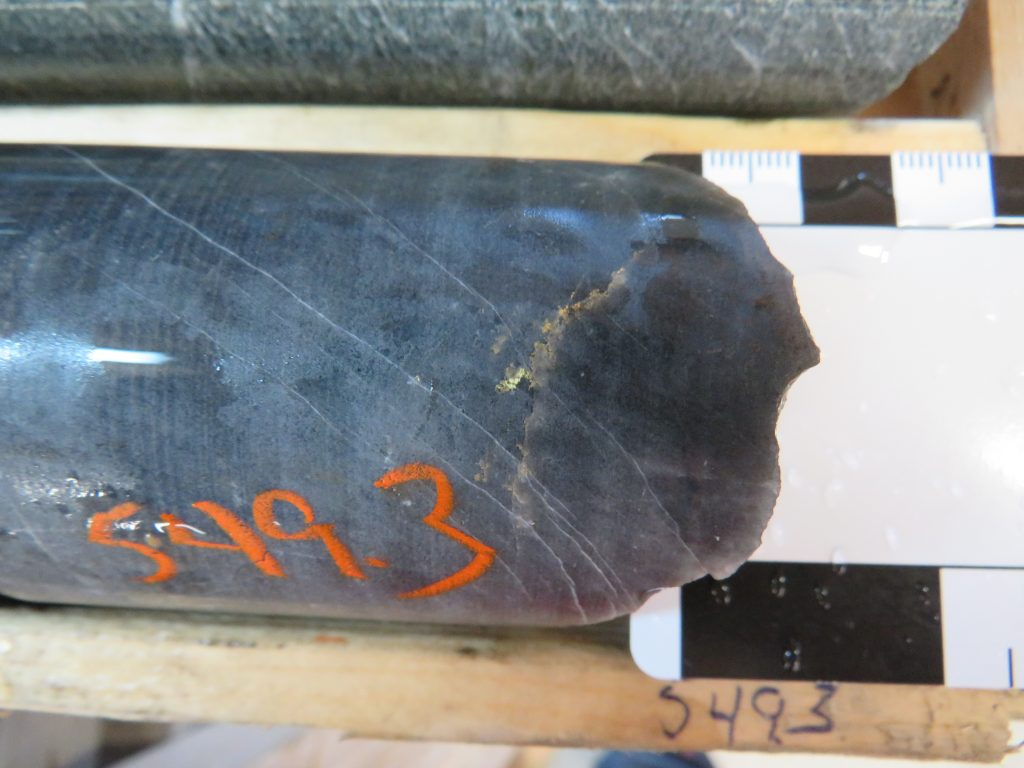 Visible gold in drill core from hole 149 at O'Brien, which returned 2 metres of 45.86 g/t gold. Radisson Resources
