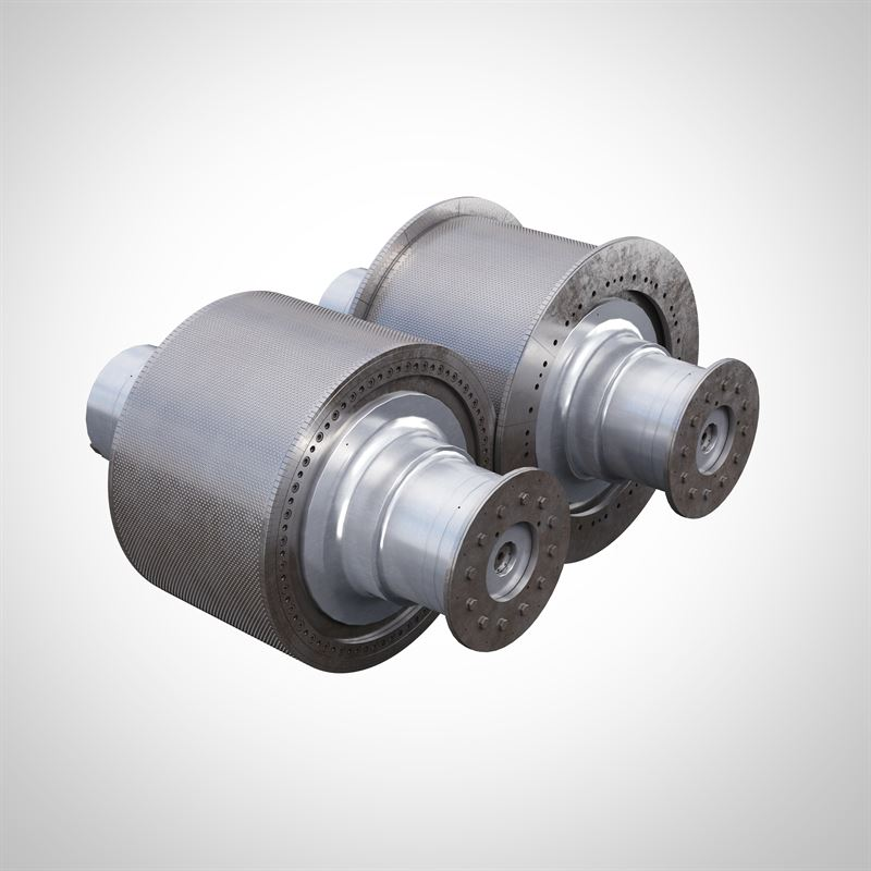 HPGR flanged roll kit with mechanical skew control Credit; Metso Outotec