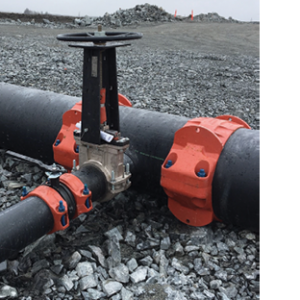 Knife gate valves used in tailings piping Credit: Victaulic