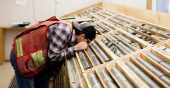Examining core at Talisker Resources' Bralorne project in B.C. Credit: Talisker Resources