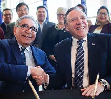 Cree Nation leaders and Quebec Premier Francois Legault at the Grande Alliance signing ceremony in February Credit: Grande Council of the Crees