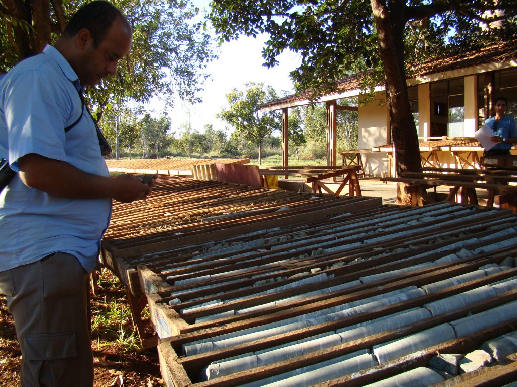 Drill core at Almas gold project