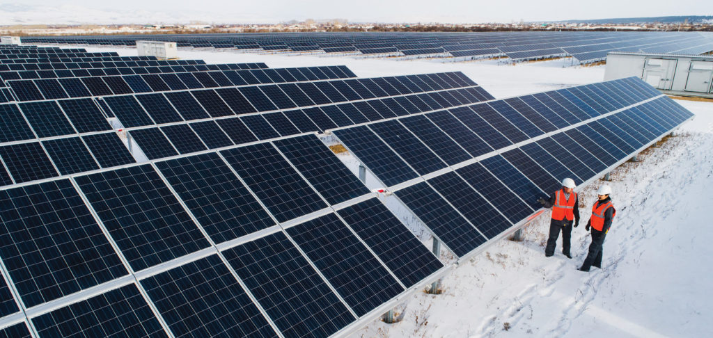 image of solar panels in winter